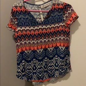 Tribal print top with keyhole and open back